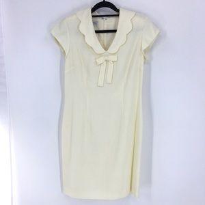 Cream short sleeve dress Peter Pan collar NWOT